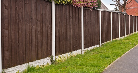 Wood Fence with Concrete